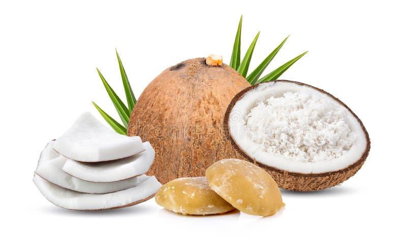 Kokosnoot en suiker op witte achtergrond royalty-vrije stock foto