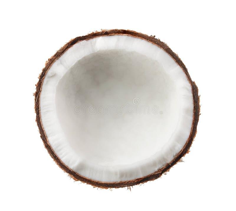 Kokosnoot Half geïsoleerd op witte achtergrond stock foto's