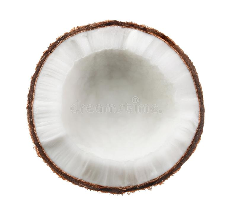 Kokosnoot Half geïsoleerd op witte achtergrond royalty-vrije stock foto's