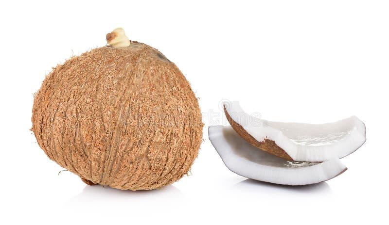 Kokosnotenclose-up op witte achtergrond royalty-vrije stock foto
