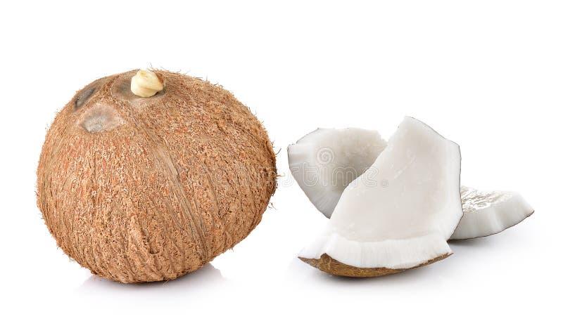 Kokosnotenclose-up op witte achtergrond stock fotografie