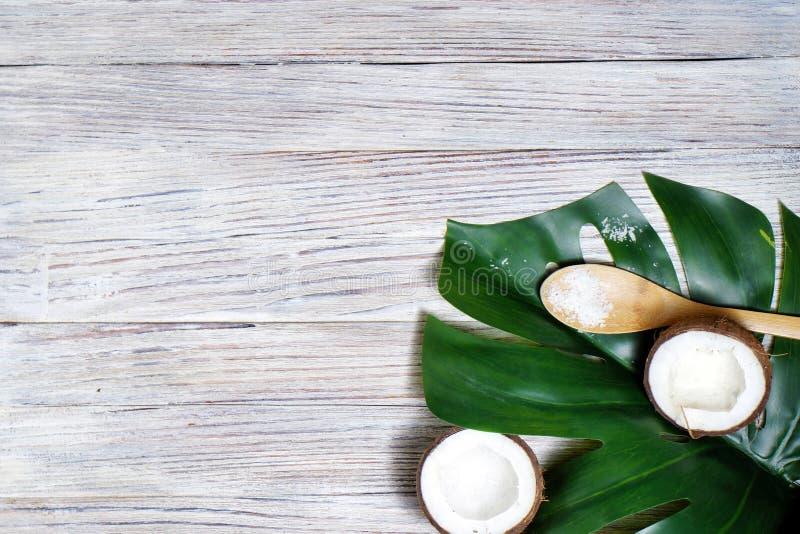 Kokosnotenolie, tropische bladeren en verse kokosnoten stock afbeeldingen