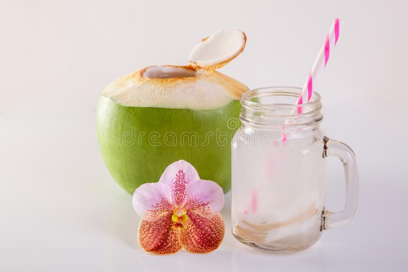 Kokosnotensap stock foto
