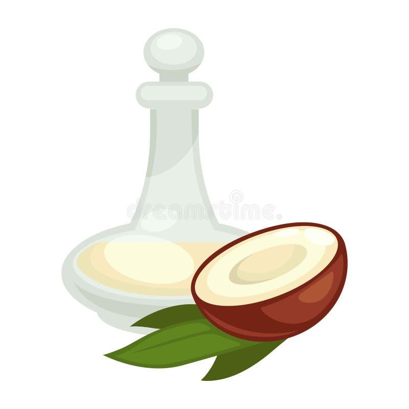 Kokosnussöl in der Flasche Lokalisierte Ikone des Vektors Ebene lizenzfreie abbildung