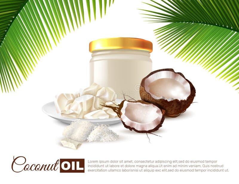 Kokosnussöl-realistisches Plakat stock abbildung