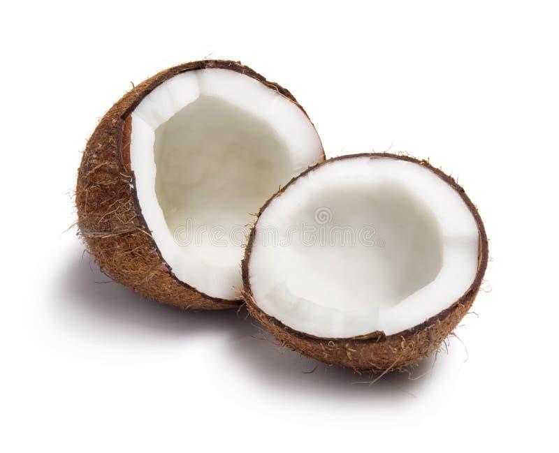 Kokosnuss aufgespaltet zur Hälfte stockbild