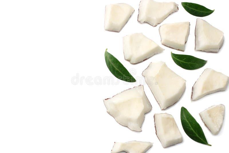 Kokosnuss bessert mit den grünen Blättern aus, die auf weißem Hintergrund lokalisiert werden Beschneidungspfad eingeschlossen vektor abbildung