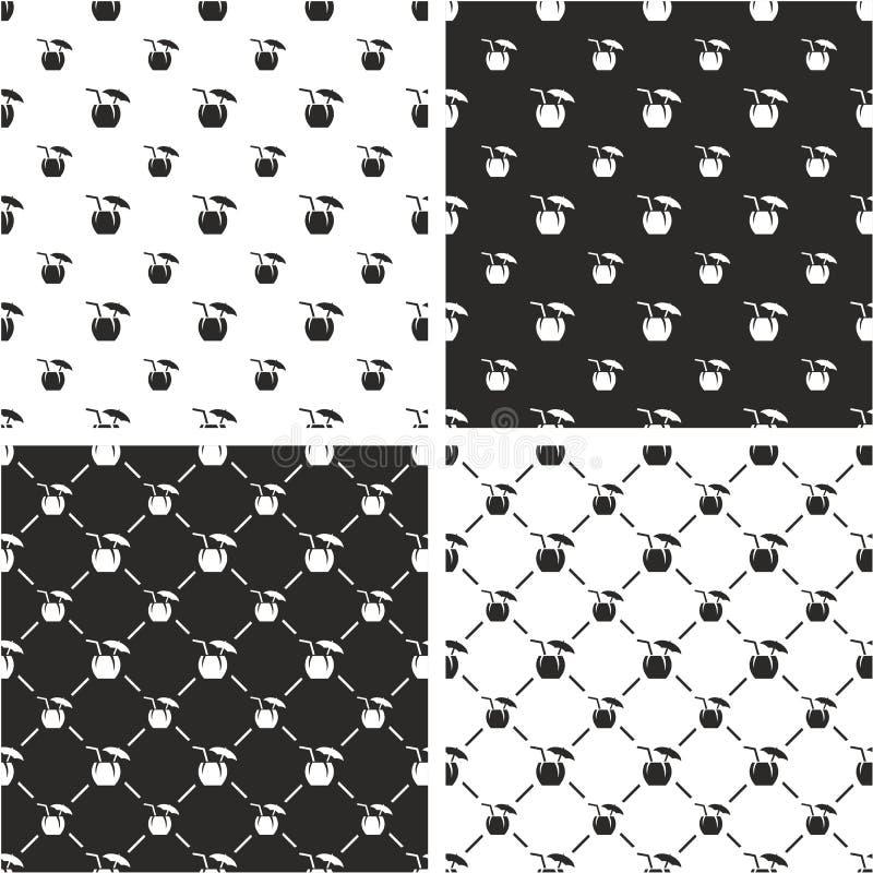 Kokosnuss-Cocktail-Getränk-großer u. kleiner nahtloser Muster-Satz vektor abbildung
