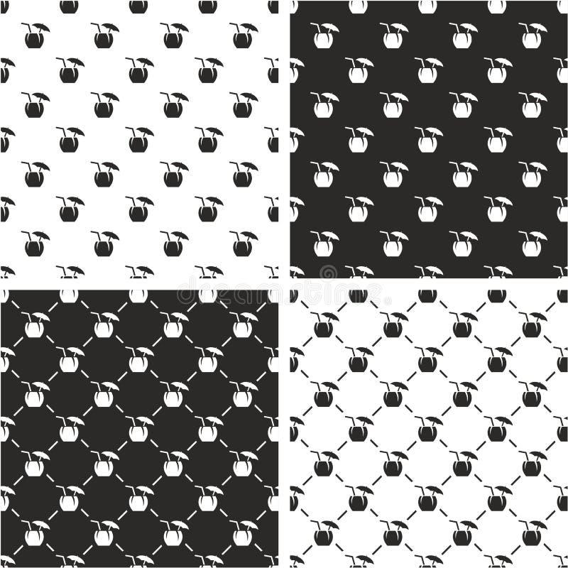 Kokosnuss-Cocktail-Getränk-nahtloser Muster-Satz stock abbildung
