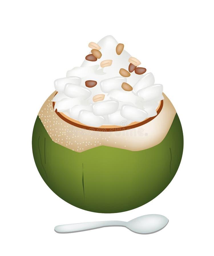 Kokosnuss-Eiscreme mit Nipa-Palmen-Samen und Nüssen stock abbildung