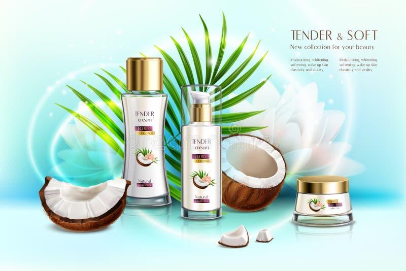 Kokosnuss-Kosmetik-realistische Zusammensetzung stock abbildung