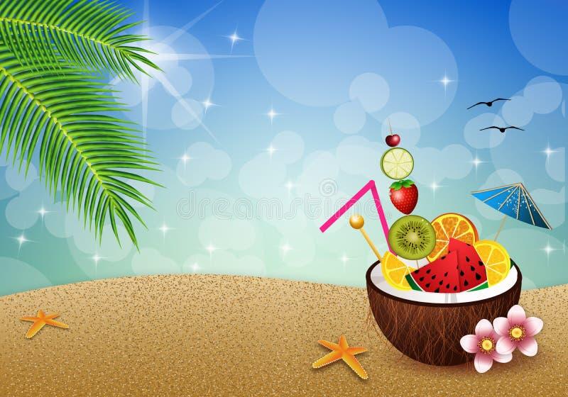 Kokosnuss mit Früchten auf dem Strand lizenzfreie abbildung