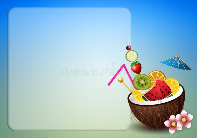 Kokosnuss mit Früchten für Aperitif stock abbildung