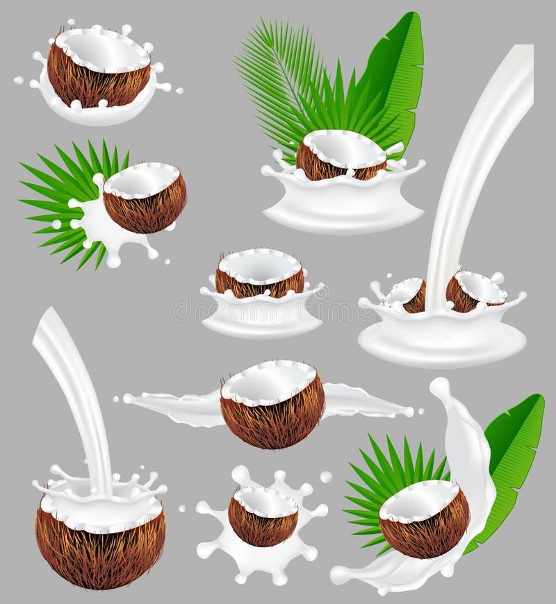 Kokosnuss mit Milchspritzen, realistische Illustration des Vektors lizenzfreie abbildung