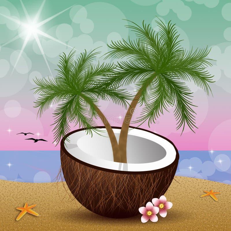 Kokosnuss mit Palmen auf dem Strand lizenzfreie abbildung