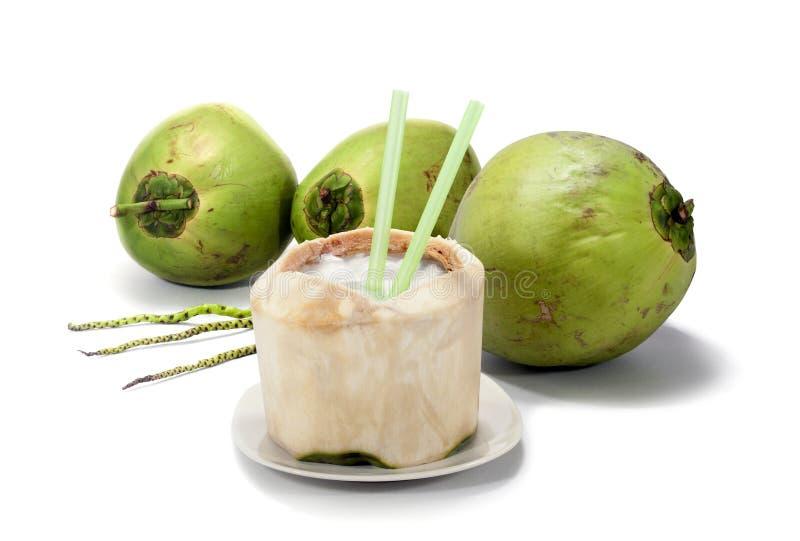 Kokosnuss mit weißem Hintergrund lizenzfreie stockbilder