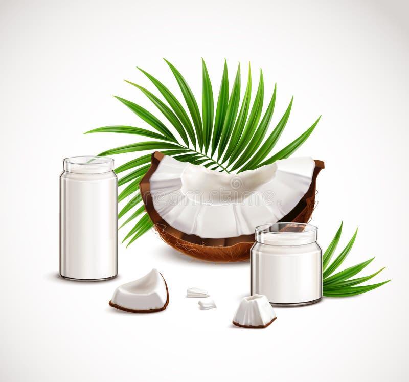 Kokosnuss-realistische Zusammensetzung stock abbildung