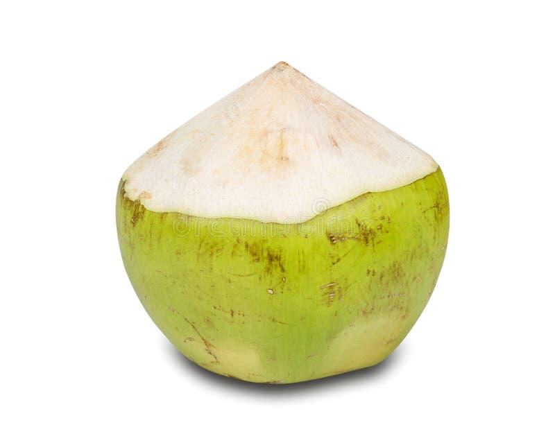 Kokosnuss-Wasser-Getränk lokalisiert auf weißem Hintergrund, Beschneidungspfad lizenzfreies stockfoto