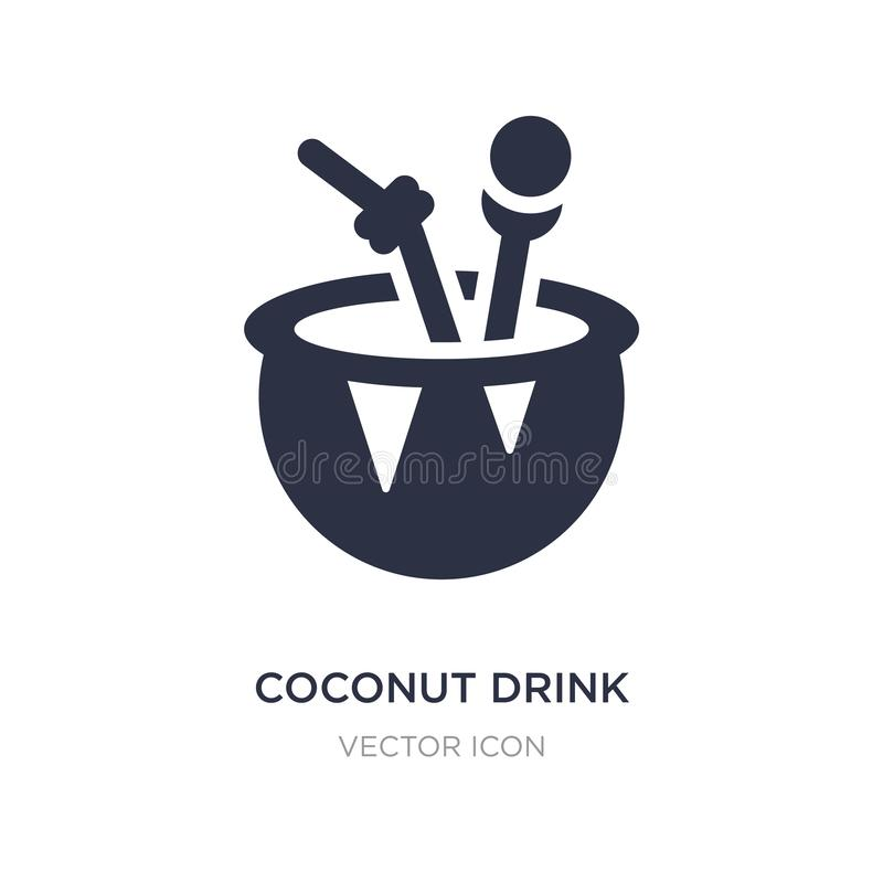 Kokosnussgetränkikone auf weißem Hintergrund Einfache Elementillustration vom Getränkkonzept lizenzfreie abbildung
