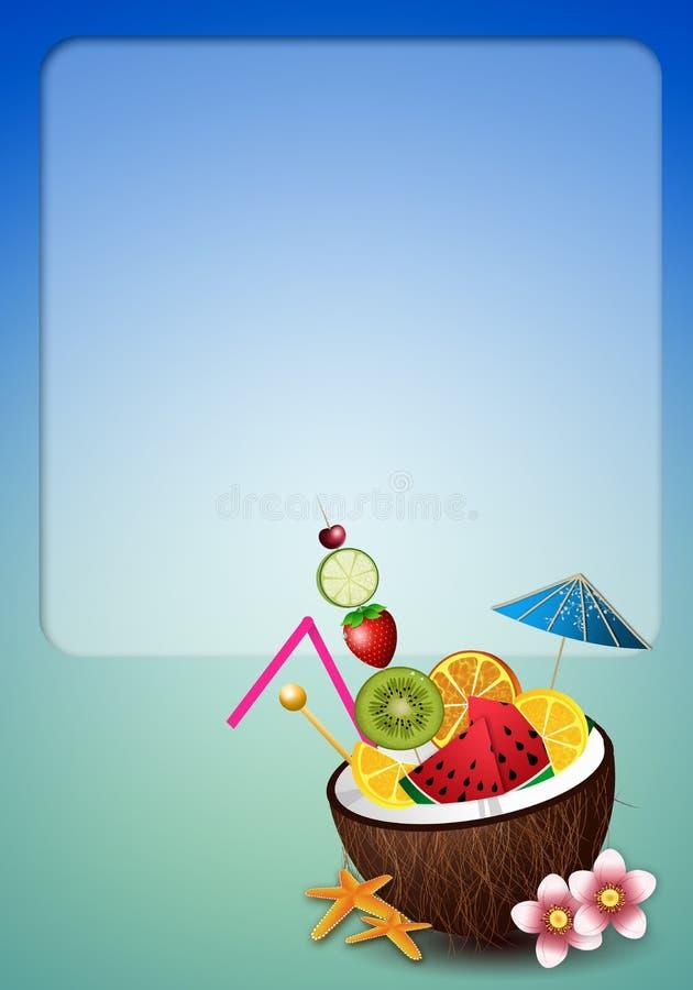 Kokosnussgetränk mit Früchten lizenzfreie abbildung