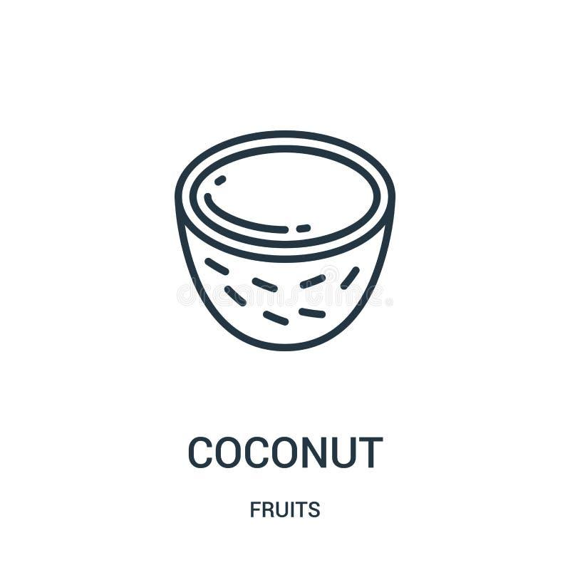 Kokosnussikonenvektor von der Fruchtsammlung Dünne Linie Kokosnussentwurfsikonen-Vektorillustration Lineares Symbol für Gebrauch  lizenzfreie abbildung