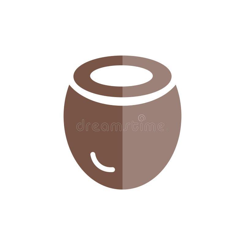 Kokosnussikonenvektorzeichen und -symbol lokalisiert auf weißem Hintergrund lizenzfreie abbildung