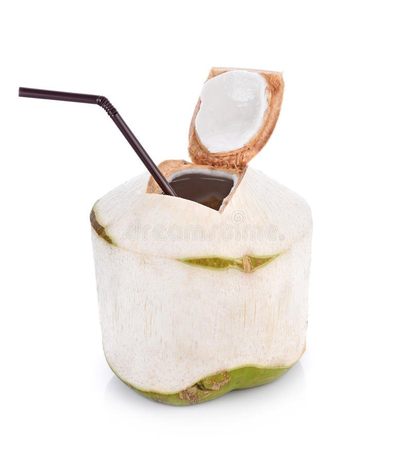 Kokosnusswassergetränk auf weißem Hintergrund mit Beschneidungspfad lizenzfreie stockfotos