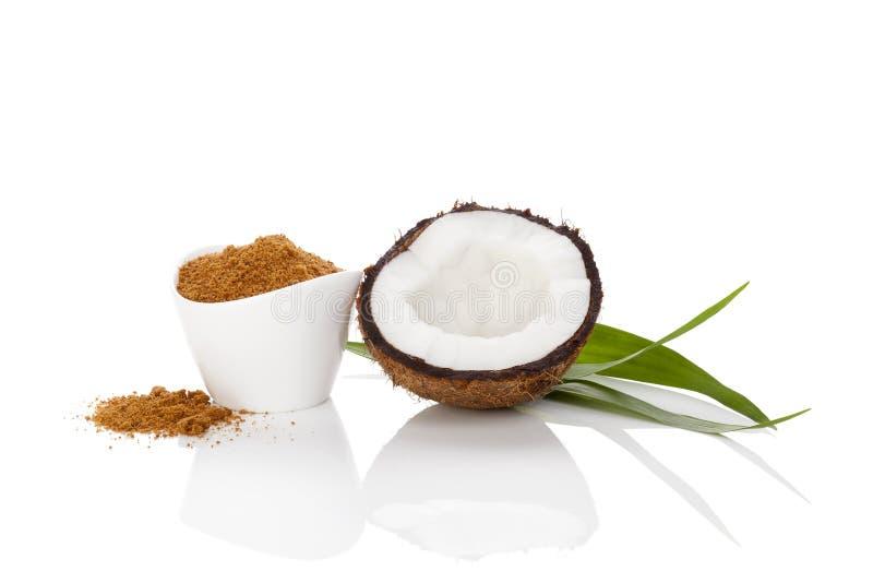 Kokosnusszucker auf Weiß lizenzfreies stockbild