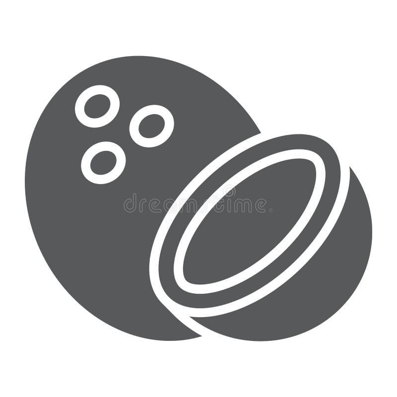 Kokosowa glif ikona, owoc i coco, tropikalny znak ilustracja wektor