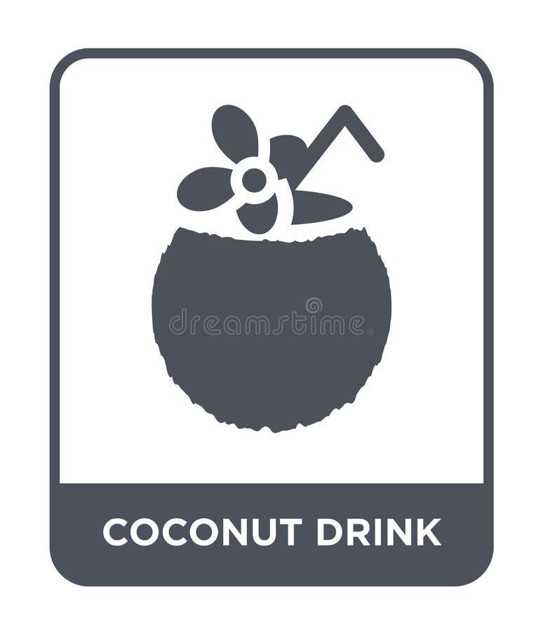 kokosowa napój ikona w modnym projekta stylu kokosowa napój ikona odizolowywająca na białym tle kokosowego napoju wektorowa ikona royalty ilustracja