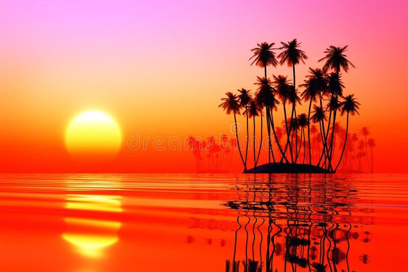 Kokosowe wyspy przy różowym zmierzchem fotografia stock