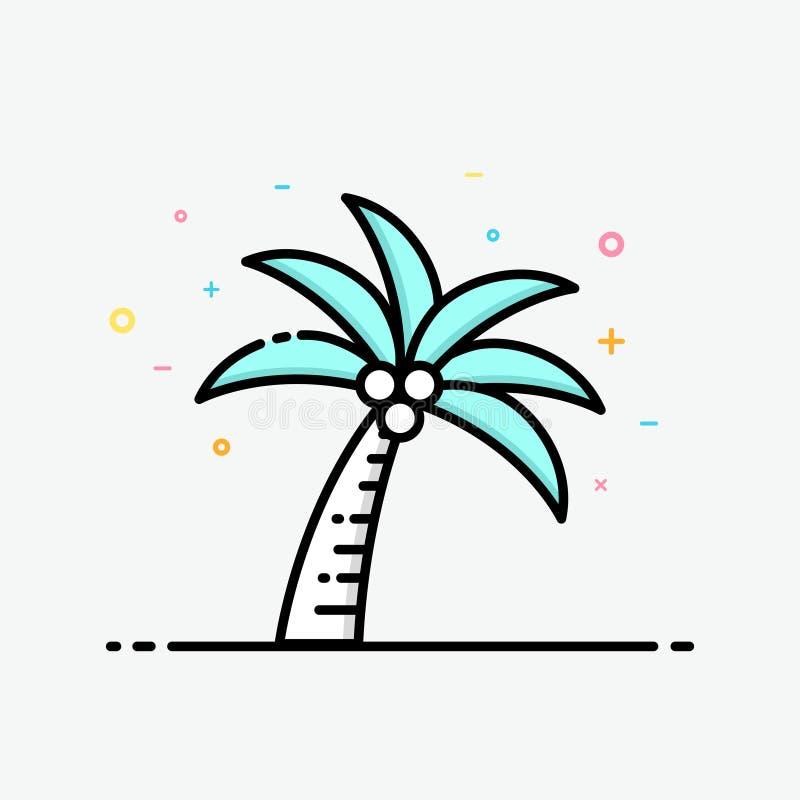 Kokosowego drzewa ikona w wypełniającym konturu stylu dla lato plakata i socjalny środków sztandaru ilustracji