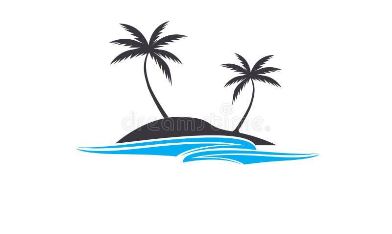 Kokosowego drzewa symbole z ocean falą i logo, zdjęcie stock