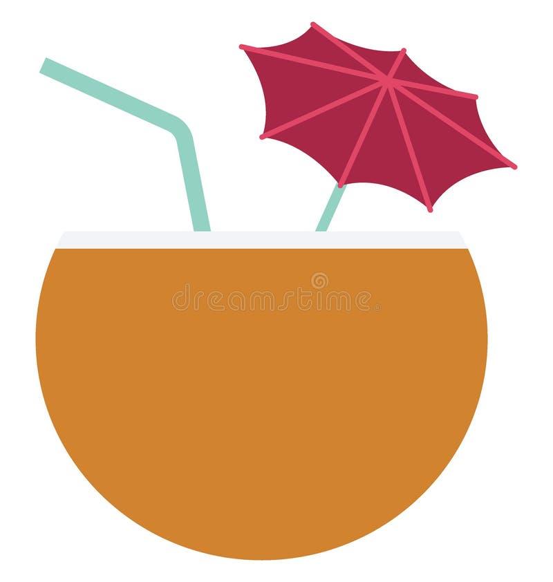 Kokosowego napoju koloru Wektorowa ikona która może łatwo redagować lub modyfikować royalty ilustracja