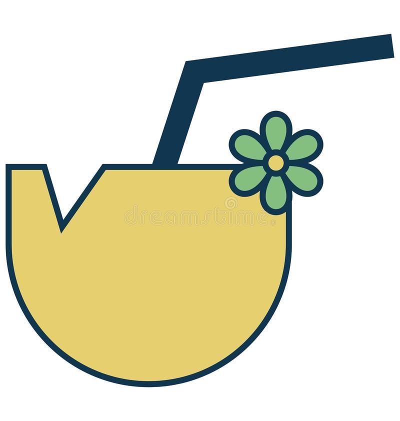 Kokosowego napoju Odosobniona Wektorowa ikona dla przyjęcia i świętowania ilustracji