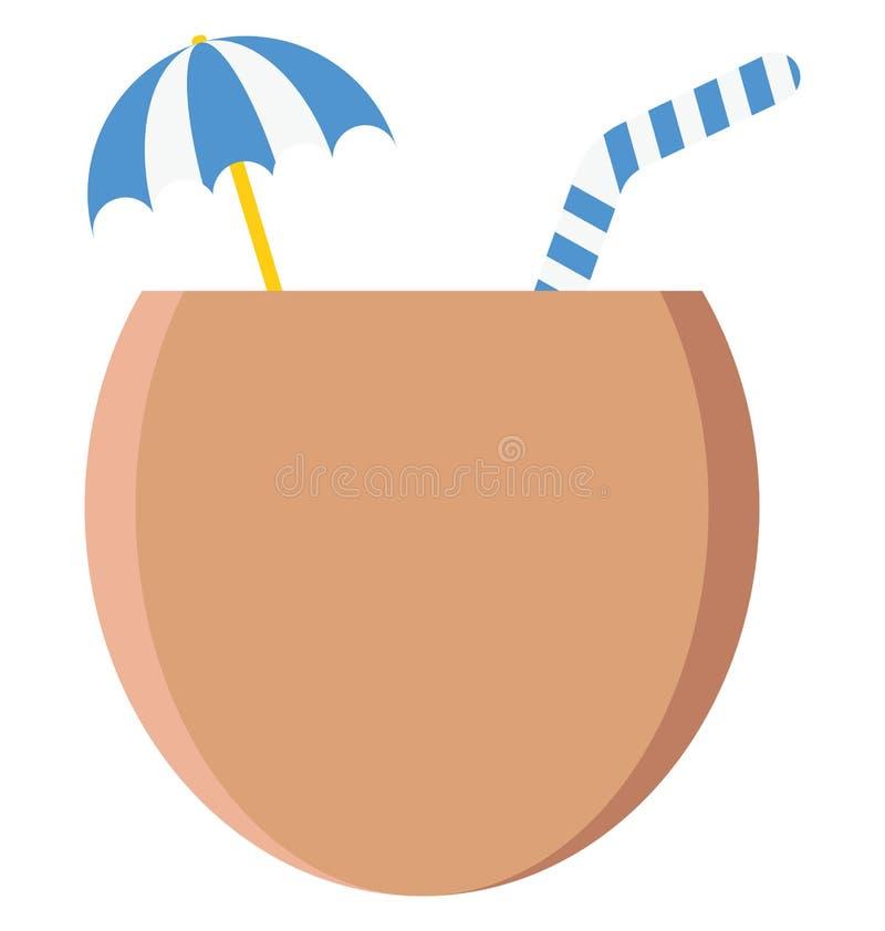 kokosowego napoju Wektorowa ikona która może łatwo redagować lub modyfikująca royalty ilustracja