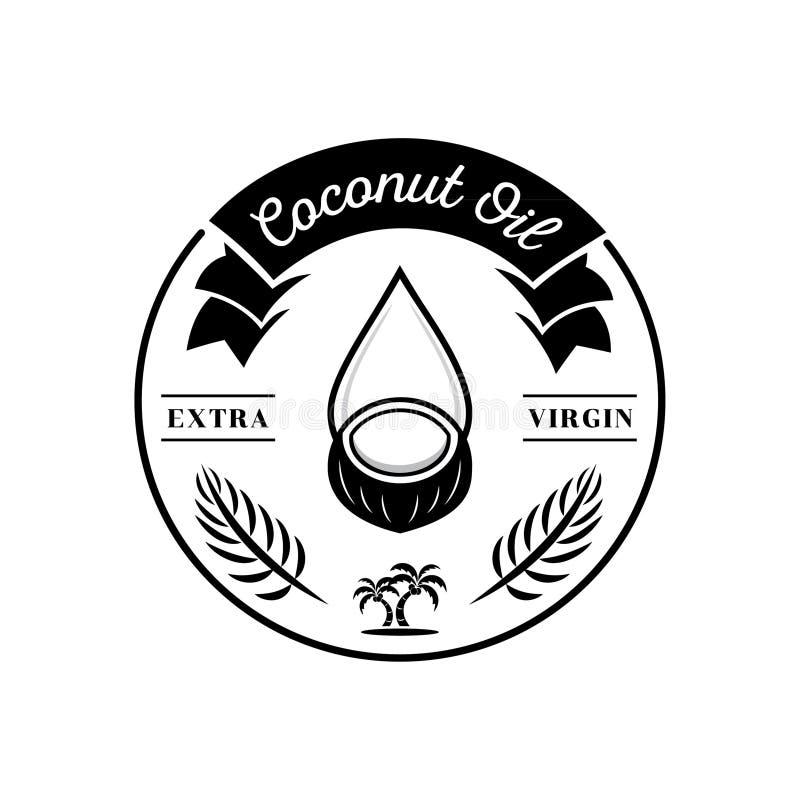 Kokosowego oleju łączenie z starym kokosowym owocowym logem ilustracja wektor