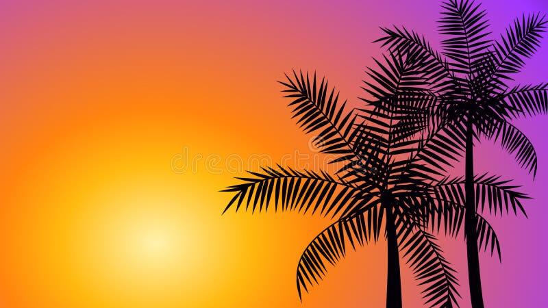 Kokosowi drzewka palmowe przy zmierzchem ilustracja wektor