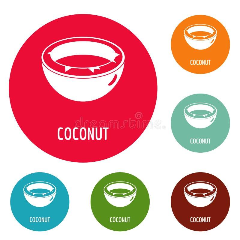 Kokosowy ikona okręgu set ilustracji