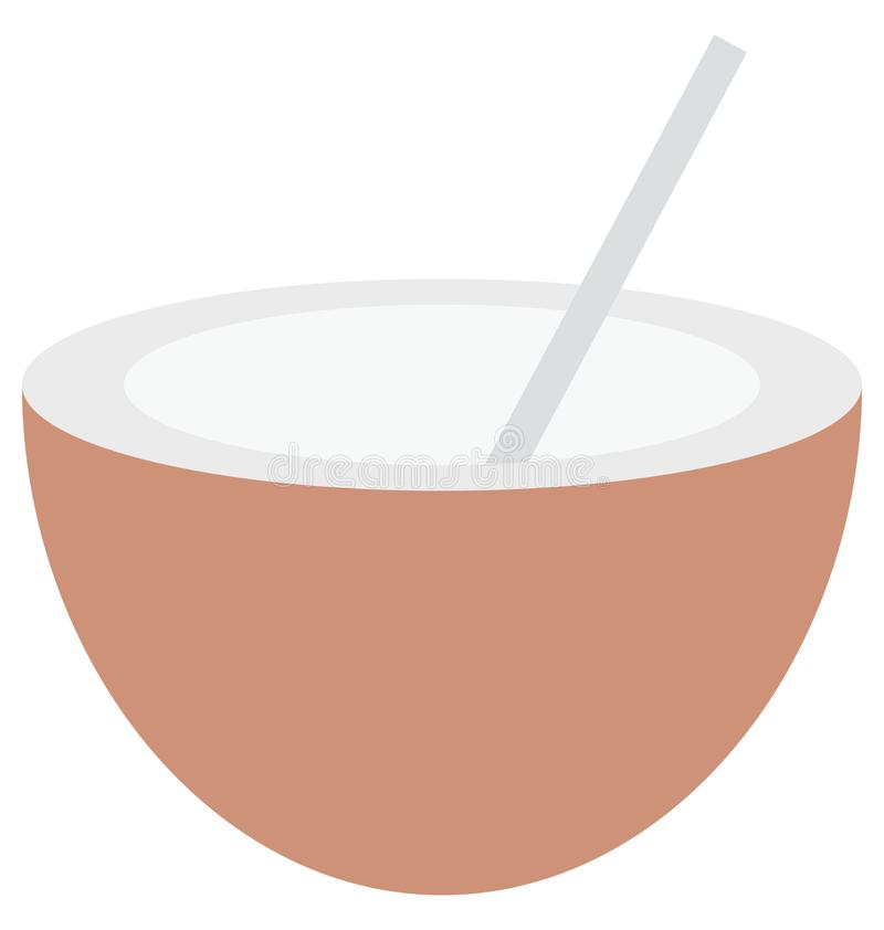 kokosowy napój odizolowywał wektorową ikonę która może być łatwo redaguje lub modyfikuje royalty ilustracja