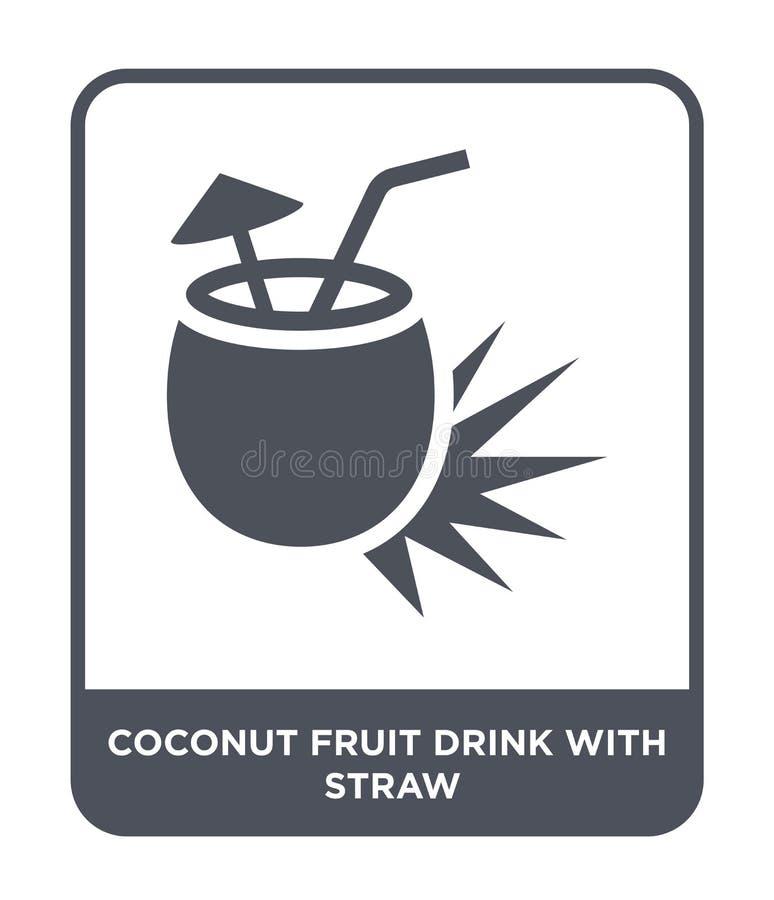 kokosowy owocowy napój z słomianą ikoną w modnym projekta stylu kokosowy owocowy napój z słomianą ikoną odizolowywającą na białym royalty ilustracja