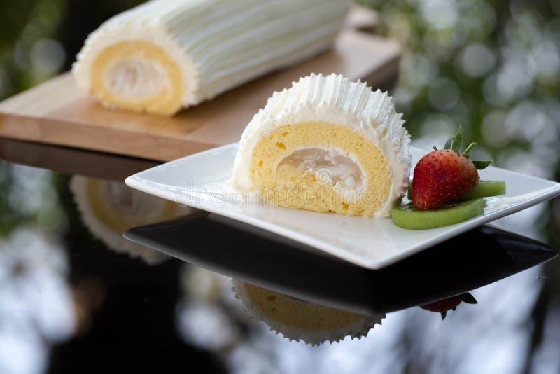 Kokosowy rolka tort fotografia stock