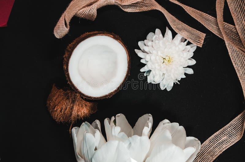 Kokosowy tło z wystrojem zdjęcie royalty free