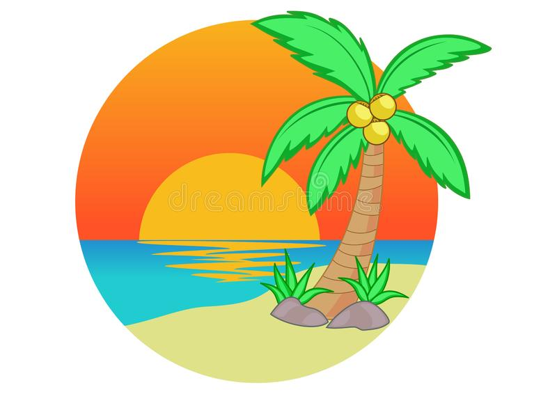 Kokospalm och solnedgång på strandtecknade filmen vektor illustrationer