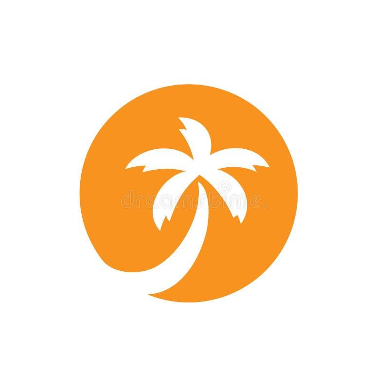 Kokospalm vectorembleem, strand of zonreeks, het pictogramontwerp van de palm tropisch boom royalty-vrije illustratie