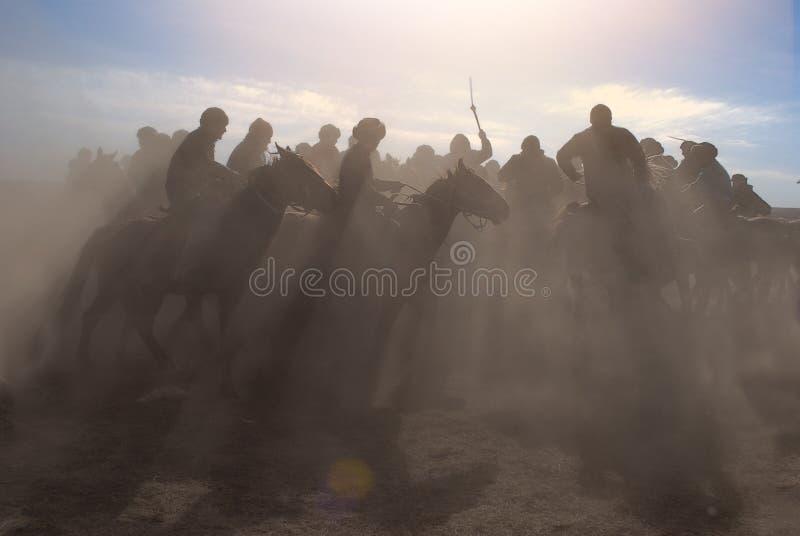 Kokpar - jogo do cavalo em Cazaquistão. imagem de stock