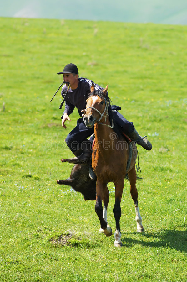 Kokpar - Traditional Nomad Horses Competitions Editorial Stock Image