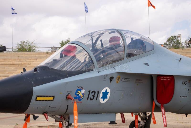 Kokpit Alenia Aermacchi M-346 mistrz Lavi wystawiający przy Izraelickim siły powietrzne muzeum fotografia royalty free