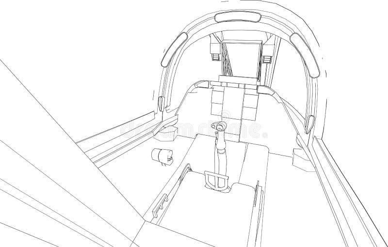 Kokpit bojowy samolot od inside Wektorowa ilustracja w liniach ilustracja wektor