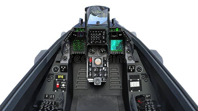 Kokpit myśliwa samolot w locie, samolot wojskowy, wojsko samolot odizolowywający na białym tle, 3D odpłaca się ilustracji